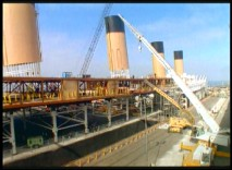Time-lapse photography illustrates the movie version of Titanic being constructed on a lot in Mexico.