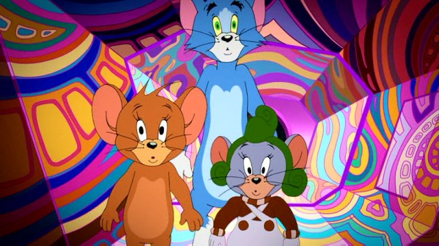 Wannabe Oompa Loompa Tuffy shows Tom and Jerry a psychedelic area of Wonka's chocolate factory.