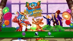 The Tom and Jerry: Willy Wonka & the Chocolate Factory main menu expands the cover art to fill a 16:9 television.