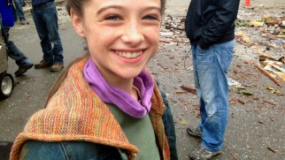 "Raffey Cassidy has fun on the set in ""Casting Tomorrowland."""