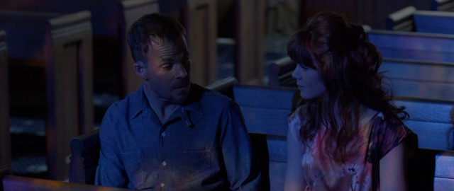 Bathed in the blue light of a church's stained glass window, Charlie (Stephen Dorff) and Florence (Michelle Monaghan) get serious and talk about God and stuff.