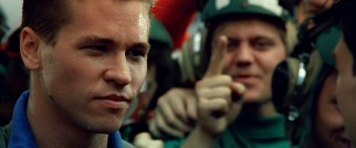An impressed Iceman (Val Kilmer) claims Maverick can be his wingman any time.