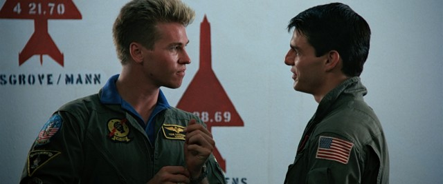 """Top Gun"" explores the rivalry between pilots nicknamed Iceman (Val Kilmer) and Maverick (Tom Cruise)."