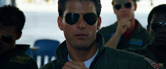 "The moment that sunglasses became cool: when Maverick (Tom Cruise) wears them in ""Top Gun."""