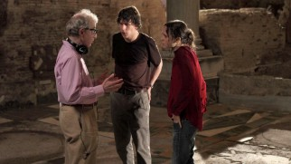 "A photograph shows Woody Allen directing Jesse Eisenberg and Ellen Page is the featurette ""Con Amore: A Passion for Rome."""