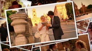 Alison Pill gets directions from Flavio Parenti in the menu's video postcard collage.