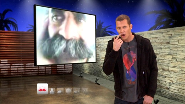"A man's bushy mustache inevitably prompts some jokes from ""Tosh.0"" host Daniel Tosh."