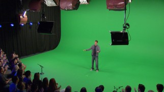 "The end of each episode provides a quick glimpse of what attending a ""Tosh.0"" taping is like on a large green screen set."