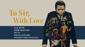 Sidney Poitier wears his students on his blazer on the Blu-ray's menu and cover art.