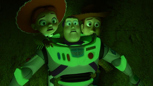 "Buzz Lightyear's glow in the dark feature comes in handy as he, Jessie, and Woody find themselves in the dark innards of the Sleep Well hotel in ""Toy Story of Terror!"""