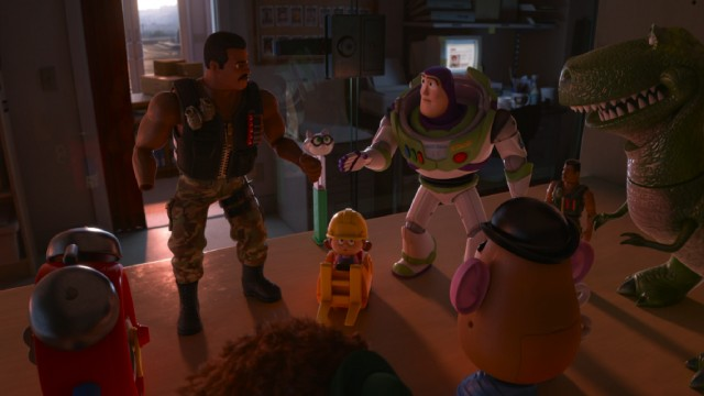 "New characters, like Combat Carl, PEZ Cat, and Combat Carl Jr. work together with Buzz, Rex, and Mr. Potato Head in ""Toy Story of Terror!"""