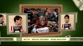The animated Trading Places DVD main menu takes its design from money.