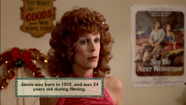 The Trading Places Trivia Pop-Ups track dishes out a Jamie Lee Curtis fact for those interested in actor ages during productions.