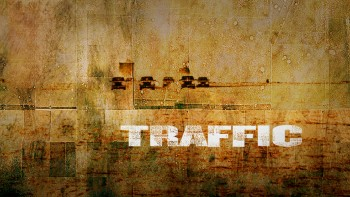The gritty golden menu of the Traffic Criterion Collection Blu-ray resembles the cover art.