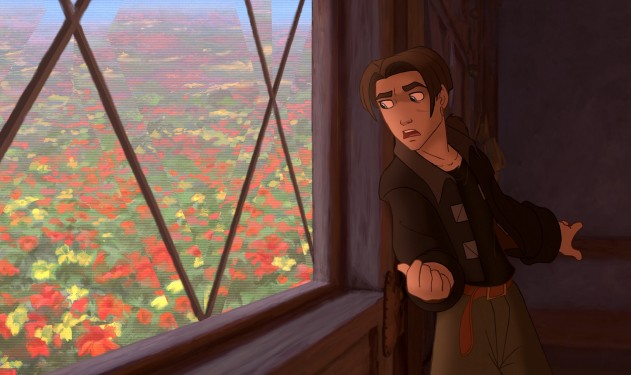 "Jim Hawkins sneaks a peek out the Benbow Inn's holographic window in Disney's ""Treasure Planet."""