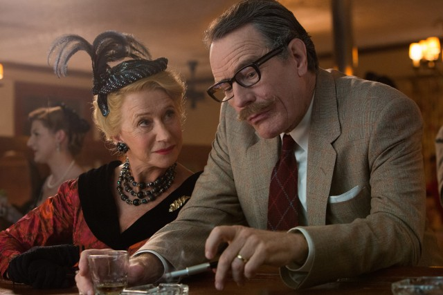 Influential gossipi Hedda Hopper (Helen Mirren) tries to get Dalton Trumbo (Bryan Cranston) to confirm he's been ghost-writing movies under pseudonyms while blacklisted.