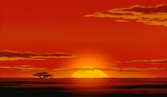 "The sun rises over the African Savannah at the beginning of Disney's beloved animated classic ""The Lion King."""