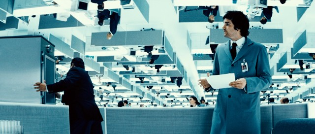Adam Kirk (Jim Sturgess) gets a job on Transworld's Floor Zero, with co-workers upside down above him.