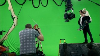 "Jim Sturgess and Kirsten Dunst use their imaginations on the largely green screen set of ""Upside Down."""