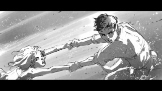 Adam and Eden run in a deleted forest sequence's storyboards.