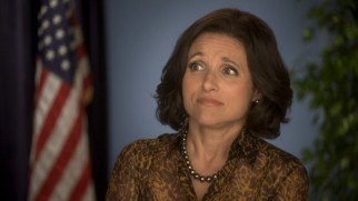 An outtake shows Selina Meyer (Julia Louis-Dreyfus) not entirely comfortable recording an Anti-Obesity PSA.