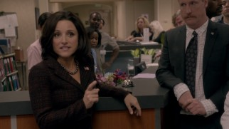 "Vice President Selina Meyer (Julia Louis-Dreyfus) gives a calculated speech to a hospital hall of injured citizens in HBO's ""Veep."""