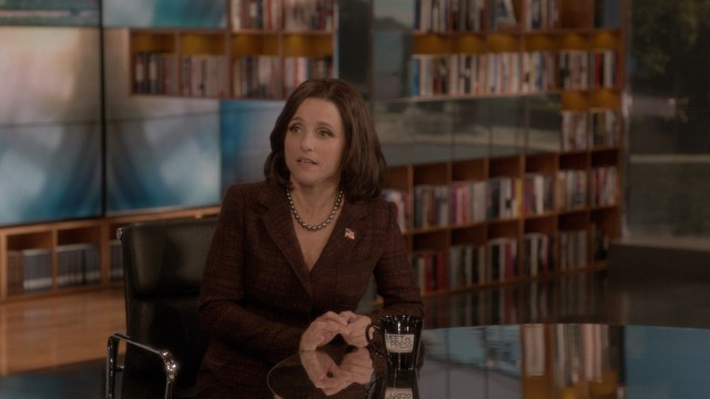 "Vice President Selina Meyer (Julia Louis-Dreyfus) fears she just committed a gaffe while still microphoned for her appearance on ""Meet the Press."""