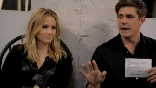 "Kristen Bell and Chris Lowell trade barbs with questions and insulting index cards in ""Game Show."""