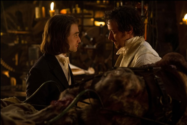 The conscientious Igor (Daniel Radcliffe) and daring Victor Frankenstein (James McAvoy) do not see eye to eye on the value of their godlike scientific experiments.
