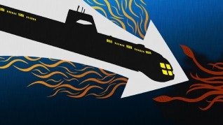 This graphic design serves as the static menu for the Voyage to the Bottom of the Sea Blu-ray.