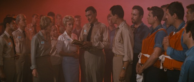 "The cast of Irwin Allen's ""Voyage to the Bottom of the Sea"" assembles outside, where Van Allen's Belt has turned the sky red, to decide what to do next."