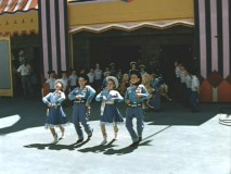 Color footage of the Mouseketeers rehearsing for their debut performance at the opening of Disneyland.