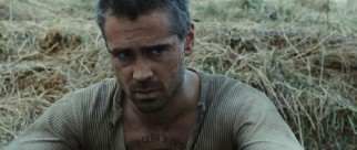 Hardened Russian criminal Valka (Colin Farrell) defends his chest tattooes of Stalin and Lenin in response to teasing.