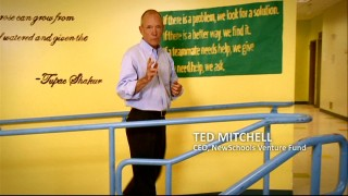 "In front of a Tupac Shakur quote on the wall of KIPP LA Prep, NewSchool Venture Fund CEO Ted Mitchell discusses ""Changing the Odds"" in public education."