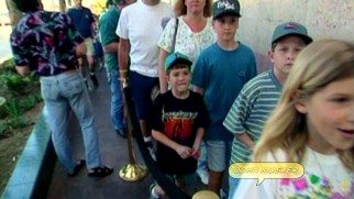 "Fire up either the IMDb goofs page or time traveler speculation; this boy supposedly attending a 1980s ""Little Mermaid"" test screening wears a Goosebumps T-shirt years before R.L. Stine created that franchise."
