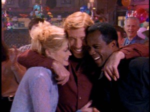 Alex, Walker, and Trivette are all smiles in a group hug from one of the show's trademark freeze frame ends.