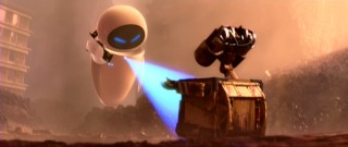 After knee-jerk attempts to destroy him, EVE settles for a scan of WALL-E.