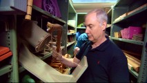 Ben Burtt, the film's sound designer and WALL-E's voice, tries out some of the items in Disney's preserved collection of sound-making cartoon props