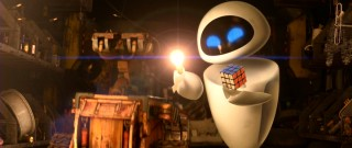 A glowing lightbulb or a mastered Rubik's Cube? EVE gives WALL-E a choice.