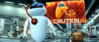 EVE and WALL-E attract attention by bearing a striking resemblance to the renegades depicted in the Axiom's all points bulletin.