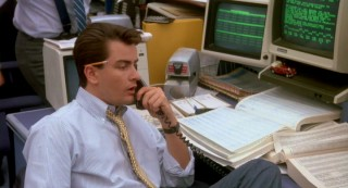 "Lots of work, not much money: ""Wall Street"" protagonist Bud Fox (Charlie Sheen) wants more out of his job than just cold calls."
