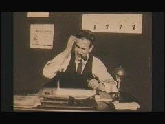 Walt Disney scratches his head while coming up with ideas in this vintage short film.