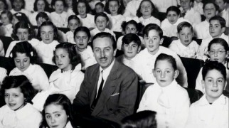 "Walt Disney seems a bit old to be one of the schoolchildren in attendance for the South American premiere of ""Fantasia."""