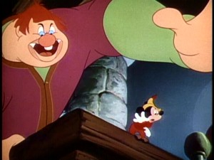 "Fee-fi-fo-fum, Willie the Giant smells the blood of Mickey Mouse and reaches for him in ""Mickey and the Beanstalk."""