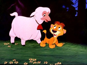 Lambert the Sheepish Lion has a loving sheep for a mother.
