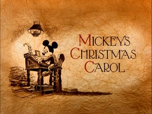 "The title screen for ""Mickey's Christmas Carol"" sets the mood for Disney's timeless retelling of Charles Dickens' classic tale."