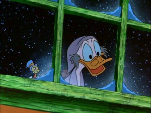 "Ebenezer Scrooge (McDuck) is excited to be shown a scene from his youth by the Ghost of Christmas Past (a.k.a. Jiminy Cricket) in ""Mickey's Christmas Carol."""