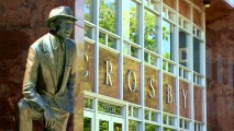 "The Bing Crosby statue that stands outside Gonzaga University's Crosby Student Center is seen in the featurette ""Christmas Crooner."""
