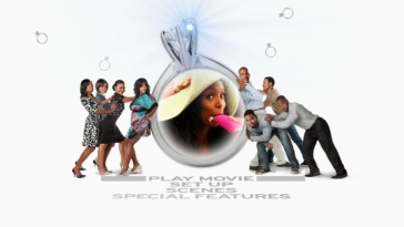 "It's raining rings as Angela (Tasha Smith) takes a sip from her hot pink flask in her big airport hat on the ""Tyler Perry's Why Did I Get Married Too?"" DVD main menu."