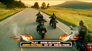 Ooh, tailpipes and flames...the Wild Hogs DVD menus aren't struck by copious amounts of inspiration.